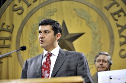 State Rep. Eddie Rodriguez, D-Austin, discusses a bill that would monitor coal waste at a press conference at the Capitol on Thursday afternoon. Photo courtesy of Paul Chouy at The Daily Texan