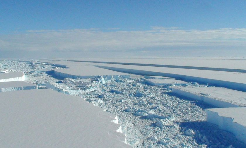 Parts of the ice shelf are now beginning to resemble shattered glass.