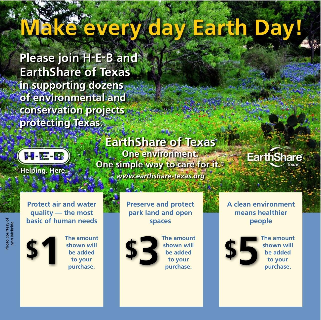 April is Earthday, give at HEB to Earthshare