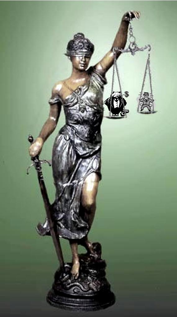 The scales of justice may tip toward monied interests