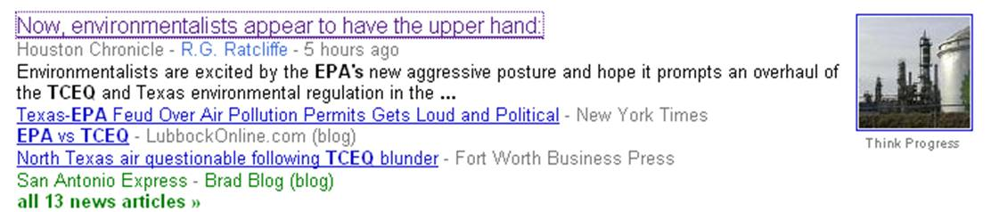 TCEQ and EPA have been battling in the headlines, as shown by this Google News search