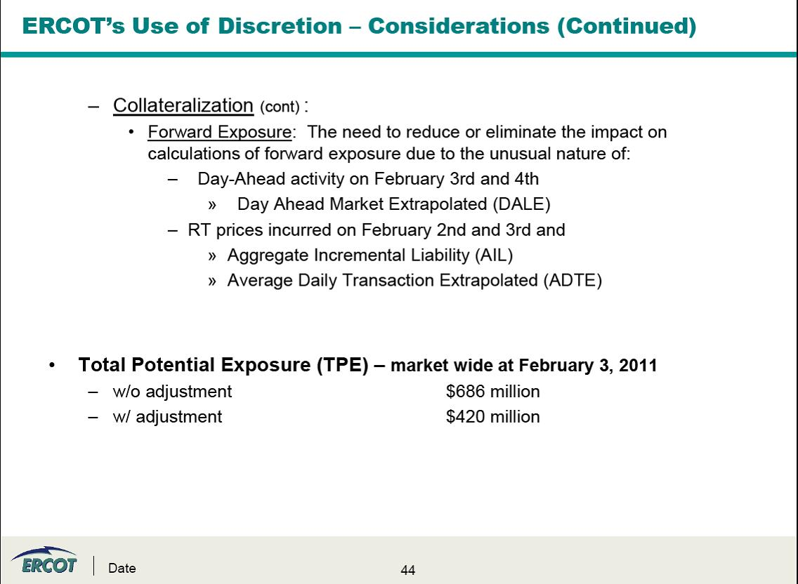 ERCOT's Use of Discretion