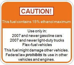 Sign indicating ethanol at gas station