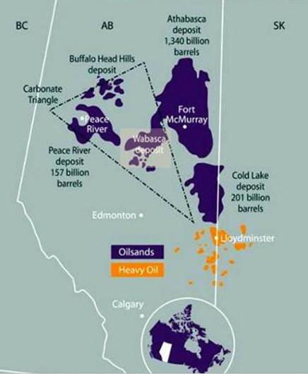 Canadian Oil Sands: Location of Canadian oil sands and viscous heavy oil deposits (Source: Canadian Association of Petroleum Producers (CAPP) website at http://www.canadasoilsands.ca/en/)