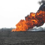 Gathering line fire from a rupture near Alice, TX in 2010.  Photo from Texas Rail Road Commission Archives