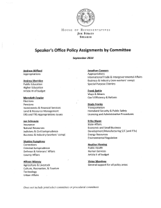 2015 Texas House Speaker's Office Policy Assignments by Committee