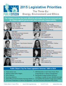 Public Citizen's 2015 Legislative Priorities