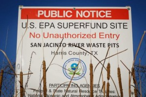 Public Notice at the site of the San Jacinto River Waste Pits - Photo from TexansTogether.org
