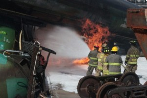 Firefighters training for oil train disaster at A&M facility