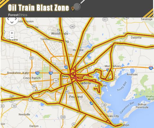 Where oil trains travel into Houston. See Forest Ethics interactive map http://explosive-crude-by-rail.org/