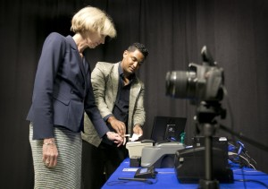 Council Member Ann Kitchen Getting Fingerprinted - Photo by Jay Janner, Austin American Statesman