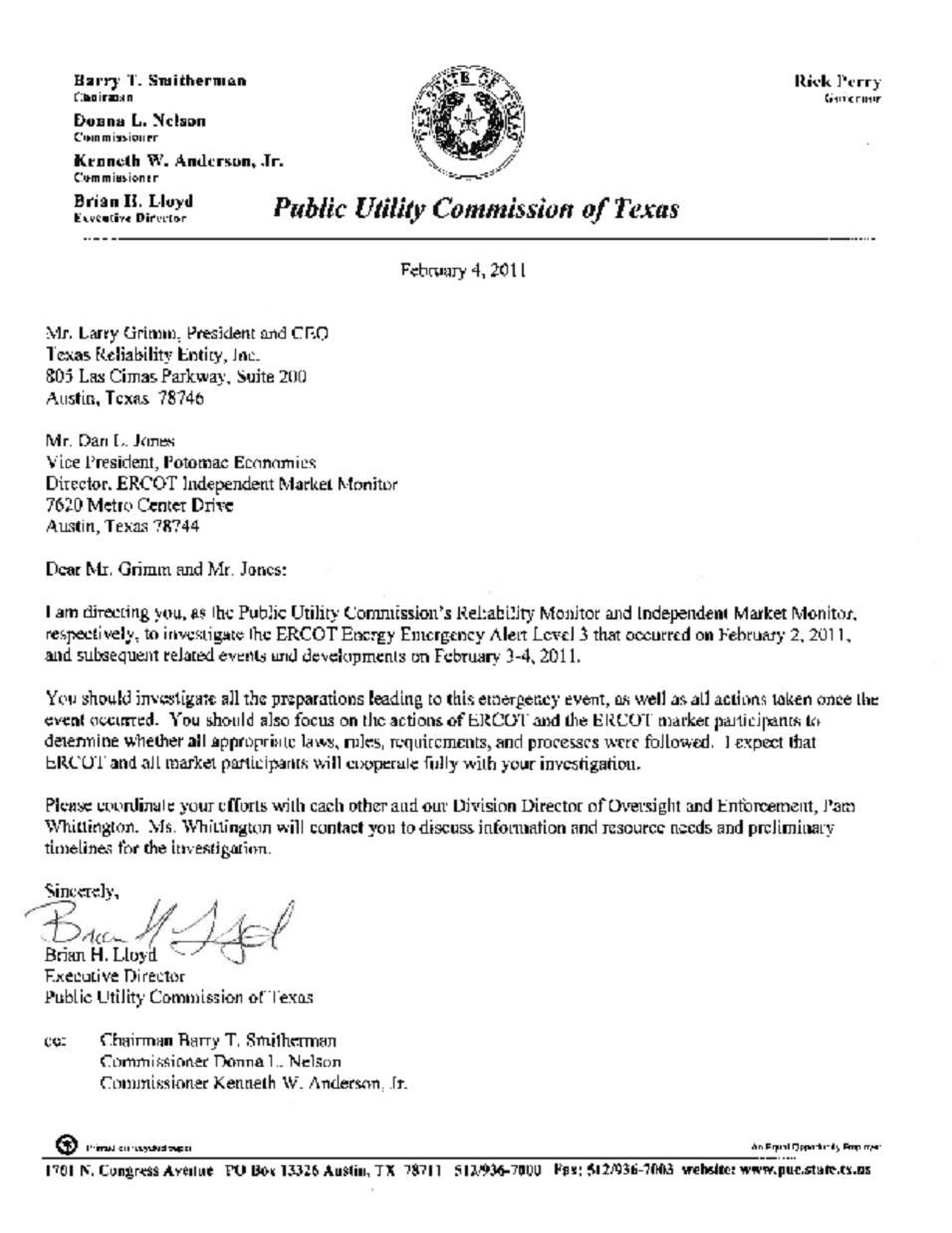 PUC rolling blackout investigation letter