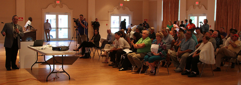 Local residents turn up to a hearing on a proposed coal export terminal in Belle Chase, Louisiana.  120 strong compared to 12 the previous year.
